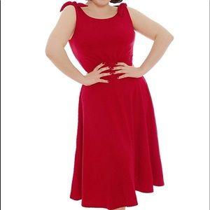 Lindy Bop 12/14 Ethel Dress Scarlet Waffle Stretch